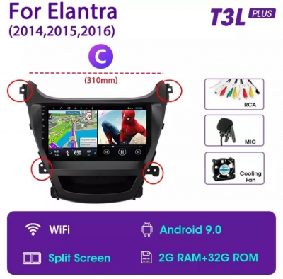 Автомагнитола 9' Android 9.0 Wi-Fi 2/32 для Hyundai Elantra I35 2014-2016